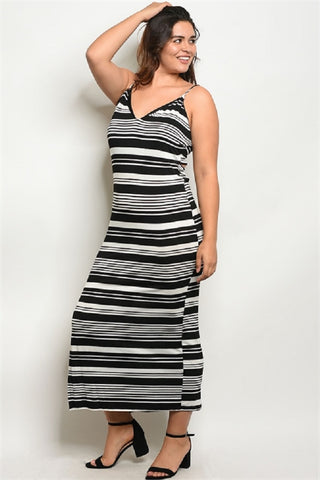 Plus SIze Striped Open Back Maxi Dress
