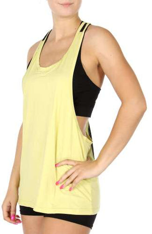 Plus Size Yellow Mesh Inset Loose Fit Active Top