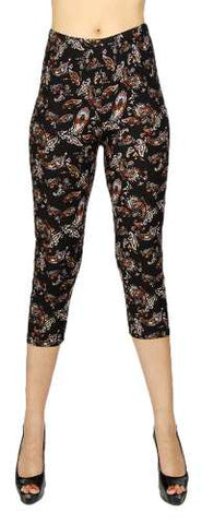 Plus Size Paisley Print Soft Brush Capri Leggings