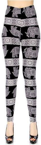 New Mix Soft Brush Leggings Nepali Elephant PLUS Size