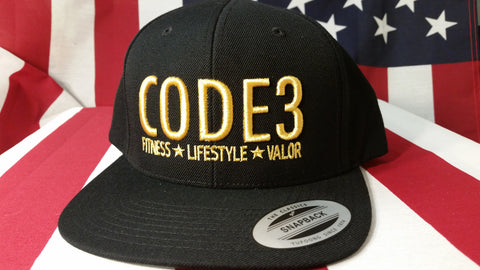 CODE3 Capital Hat - Black/Gold, American Flag Side