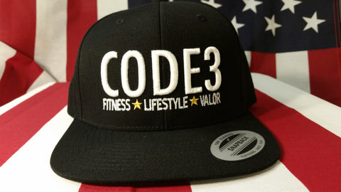 CODE3 Capital Hat - Black/White, American Flag Side