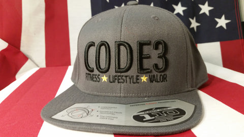 CODE3 Capital Hat - Dark Gray/Black, American Flag Side