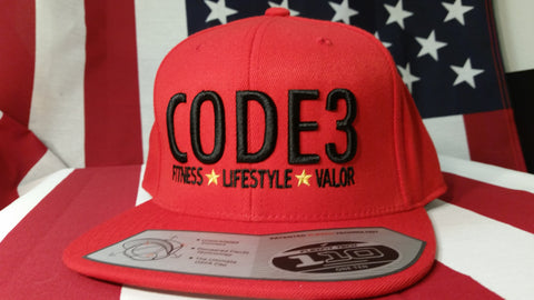 CODE3 Capital Hat - Red/Black, American Flag Side