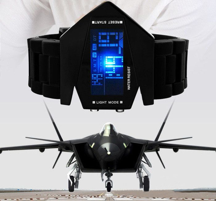 LED Aircraft Dial Airplane Style Silicone Sports Watch - Godspeed Innovative - 2