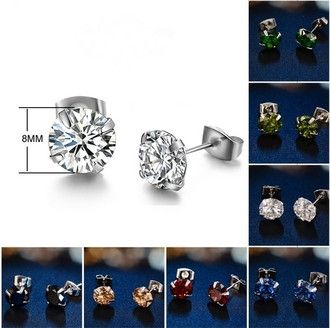 Women Fashion 925 Sterling Silver Zircon Stud Earrings - Godspeed Innovative - 1