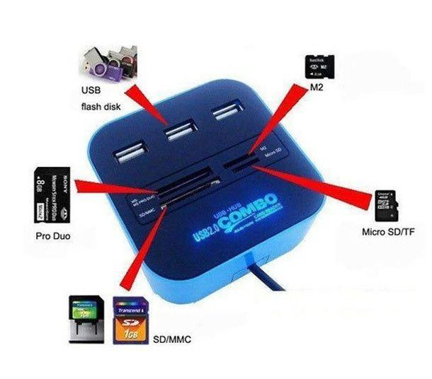 All In One Multi-Card Reader 3 Ports USB 2.0 Hub Combo