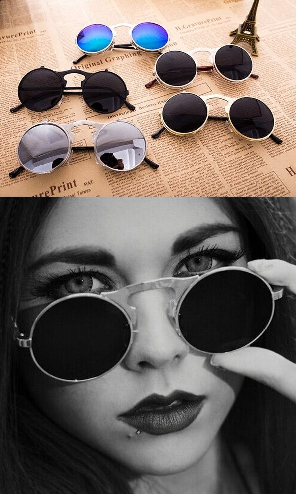 Women Vintage Retro Circle Steampunk Round  Sunglasses - Godspeed Innovative - 1