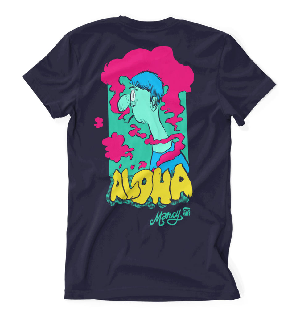 Aloha tee on navy