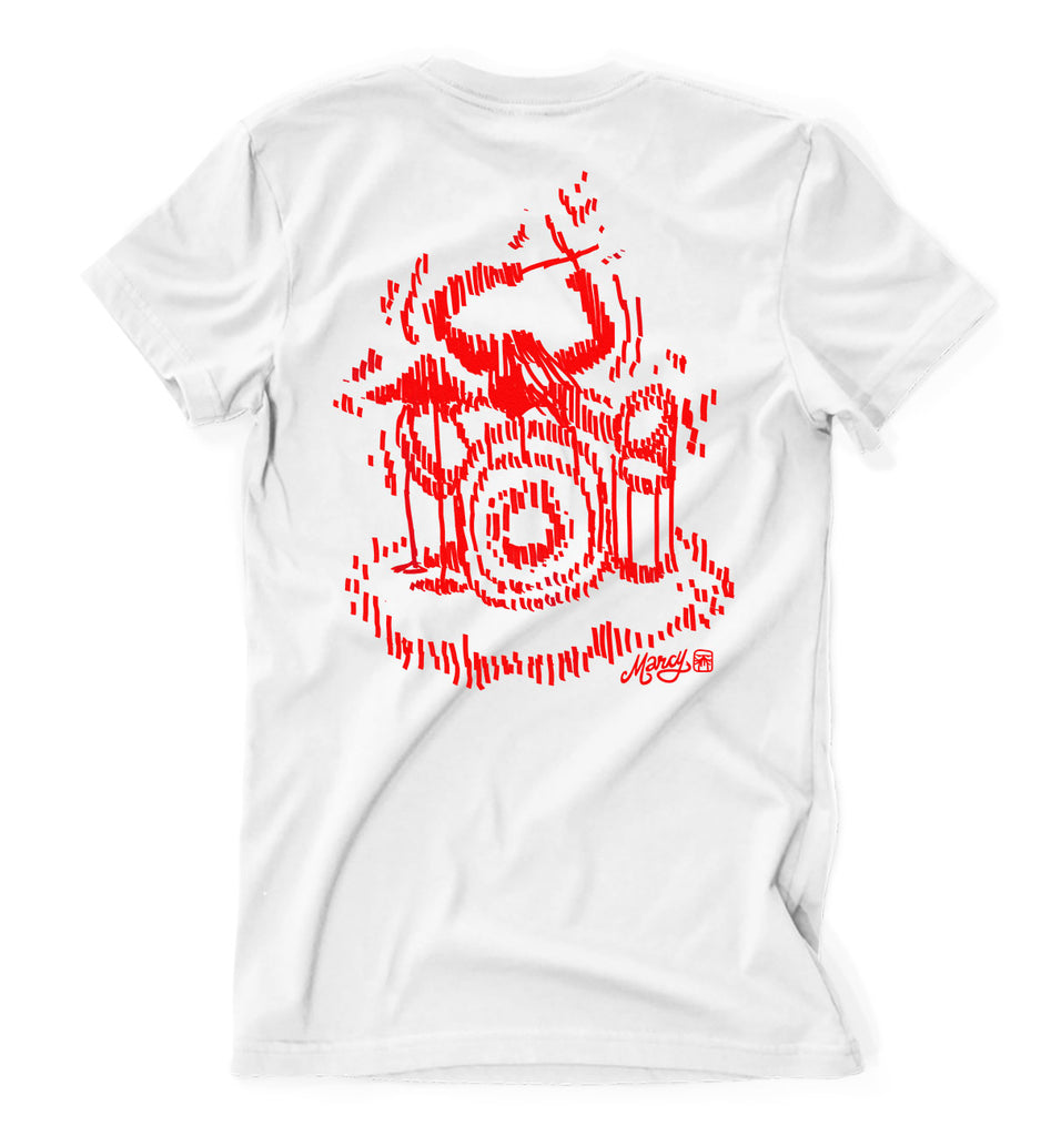 Drummer girl tee on white
