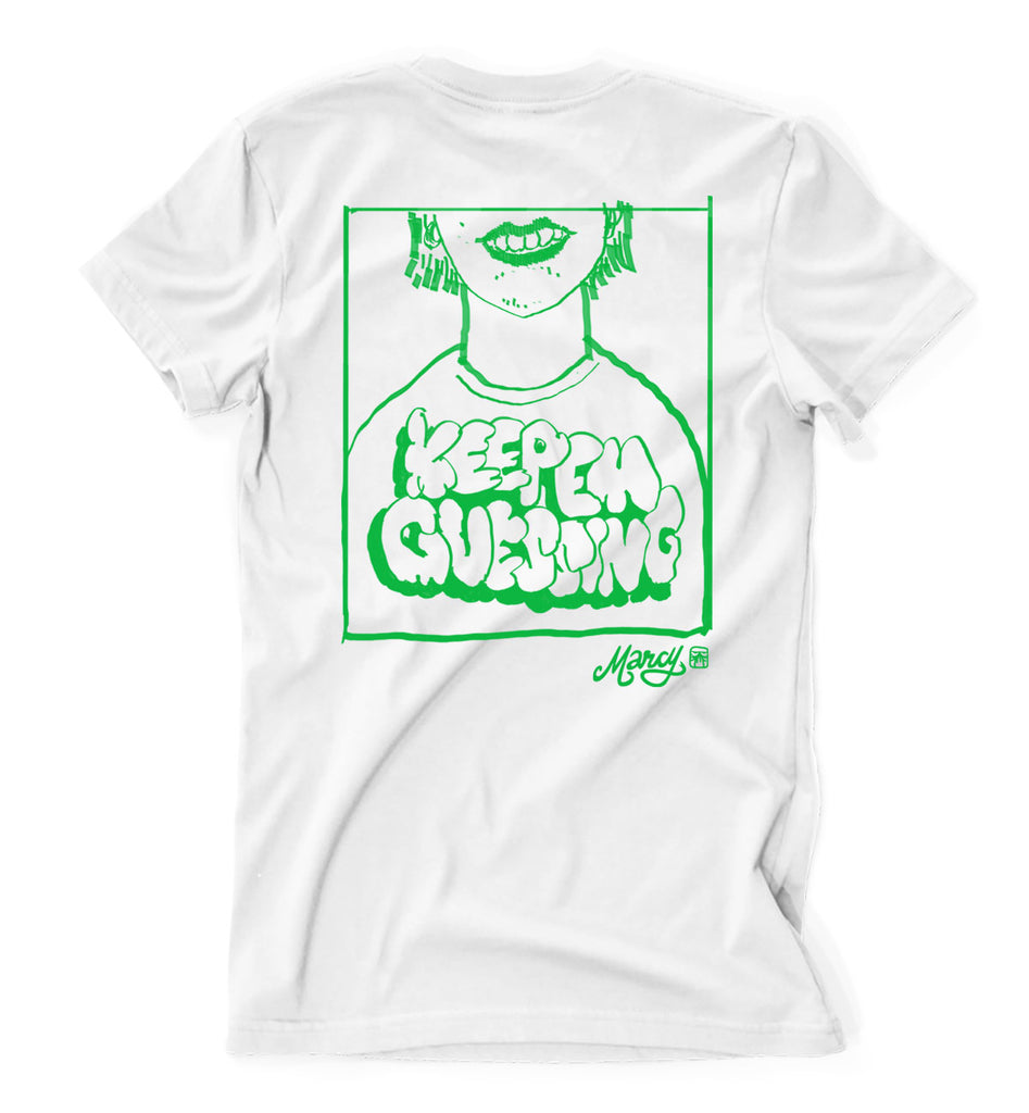 Keep em guessing tee on white
