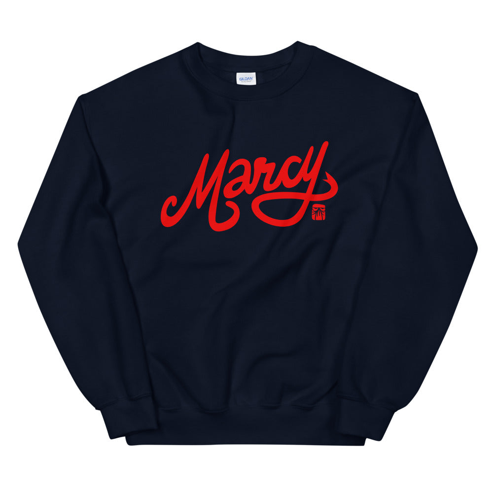 Marcy basic crew, red on black & navy