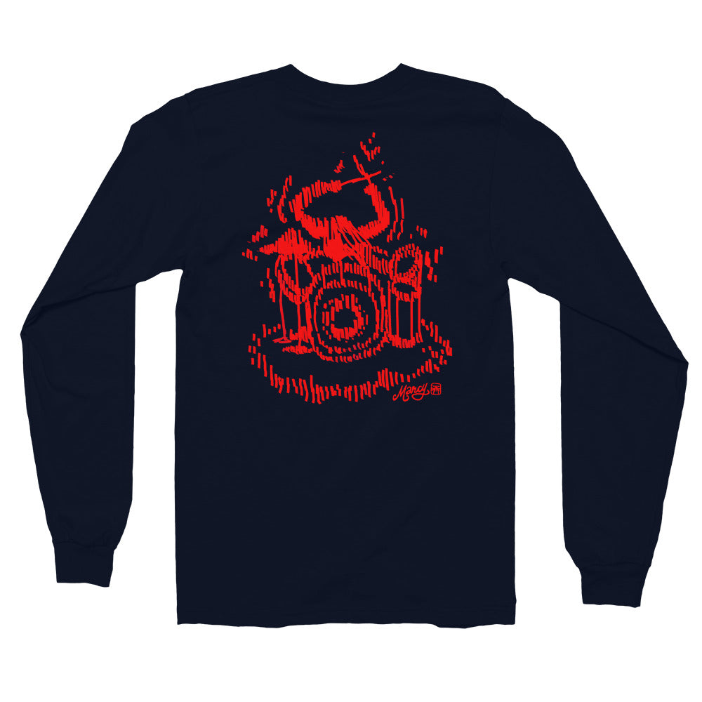 Drummer girl long sleeve tee on navy & black