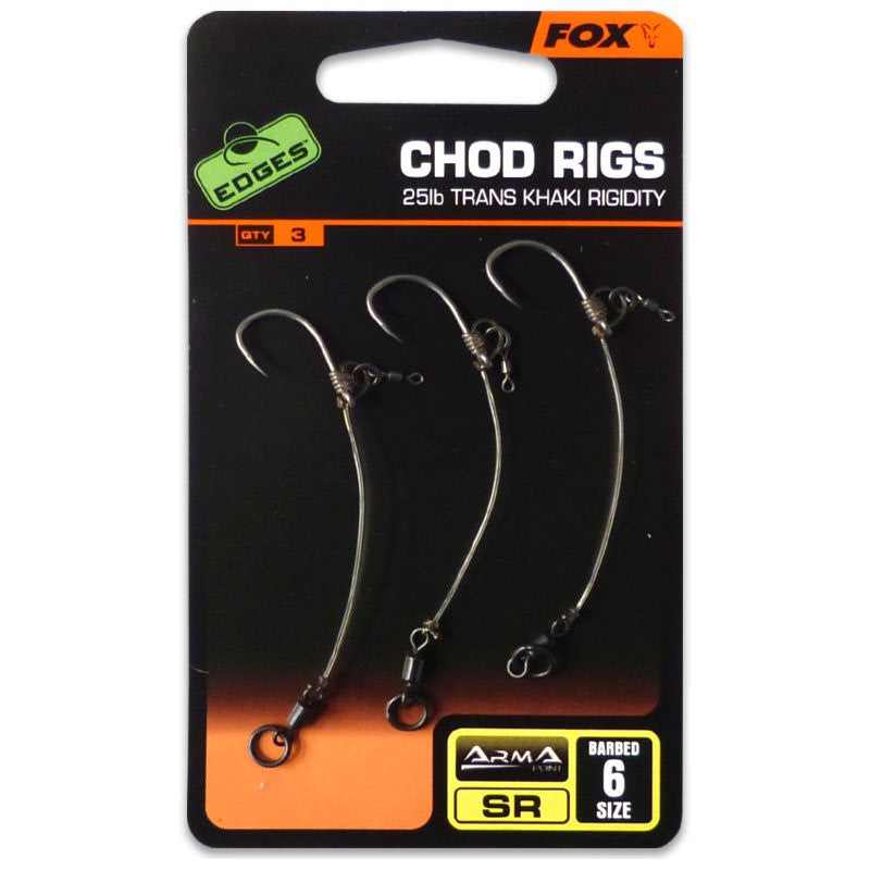 FOX CHOD RIGS - 25LB TRANS KHAKI RIGIDITY specimen hooks Fox- THE MATCHMEN ANGLING CENTRE