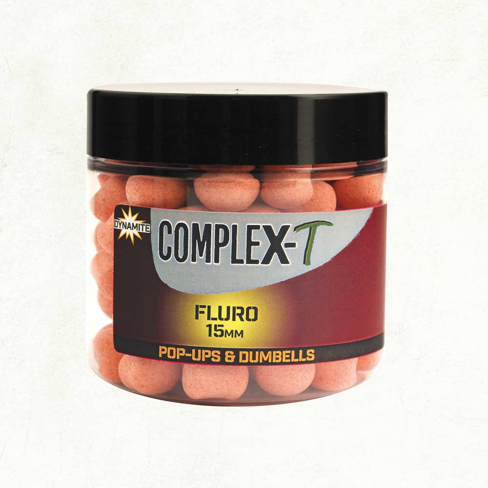 DYNAMITE BAITS Complex-T Fluro Pop Ups and dumbells 15MM Boilies and Pop Ups Dynamite Baits- THE MATCHMEN ANGLING CENTRE