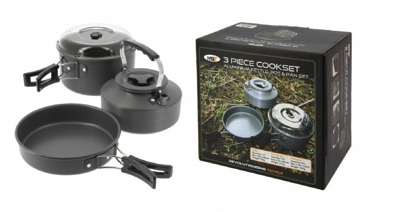 3pc Gun Metal Aluminium Kettle, Pot & Pan Set cookware NGT- GO FISHING TACKLE