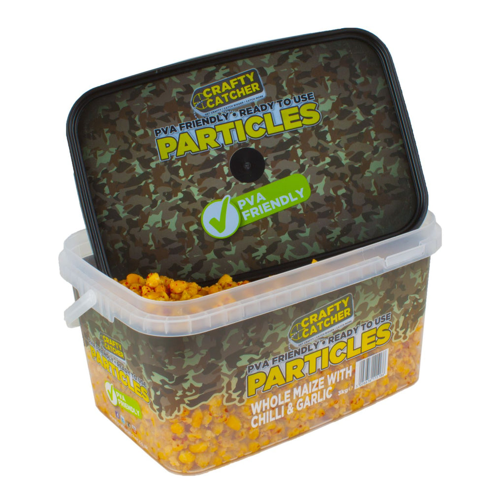 WHOLE MAIZE WITH CHILLI & GARLIC PARTICLES  3KG particles Crafty Catcher- GO FISHING TACKLE