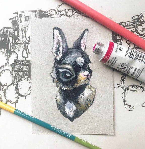 """Pleased Rabbit"" original painting"