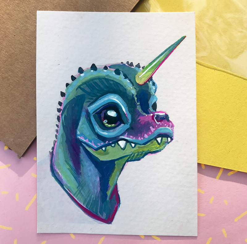 Dino Unicorn Painting - Reserved for E Turner