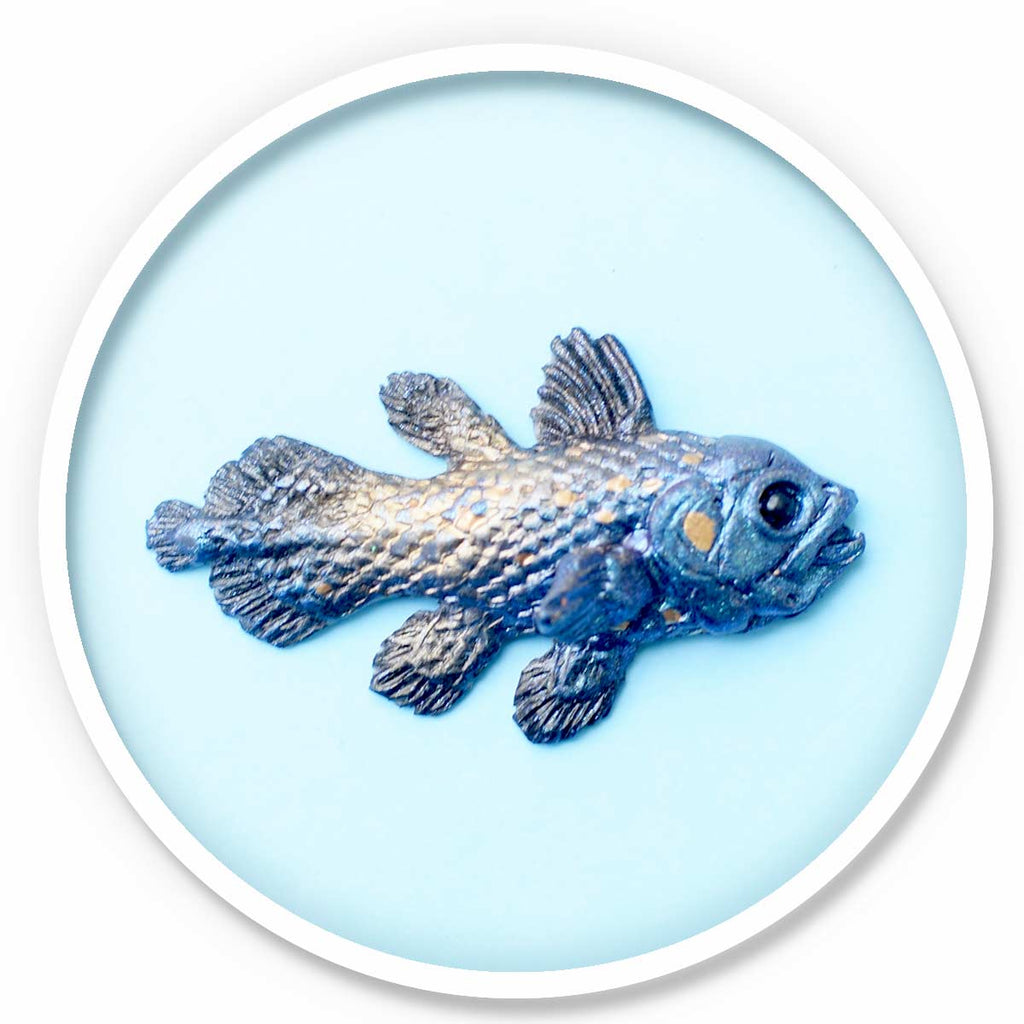 Coelacanth Magnet • Blue and Gold