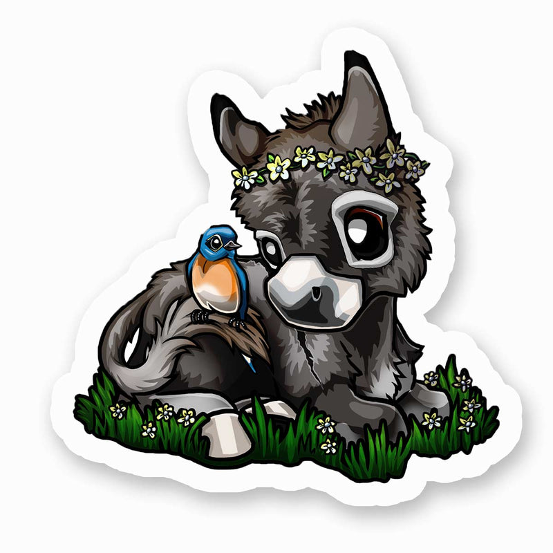 """Blue Bird"" Donkey Sticker"
