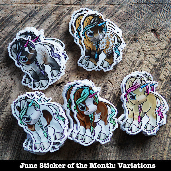 "Overo Grumpicorn ""June"" Sticker"