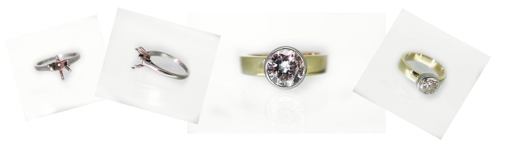 Commission hand made ring diamond single stone. Platinum setting on yellow gold band.