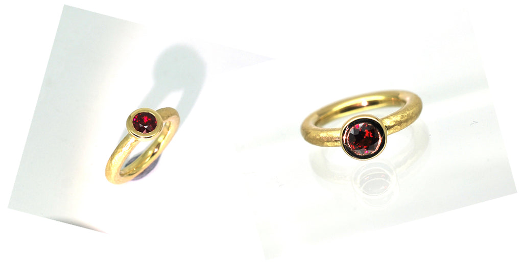 18ct yellow gold hammered ruby ring.