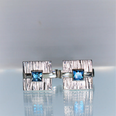 Silver Cufflinks with Blue Topaz