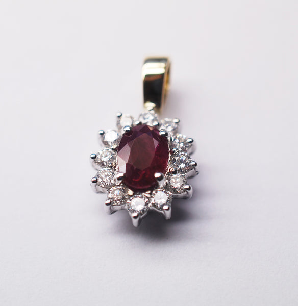 Ruby and diamond cluster pendant 18ct