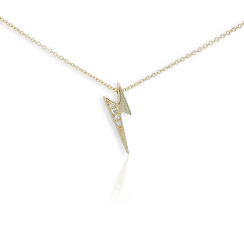 9ct Yellow Gold Diamond set Lightning Pendant