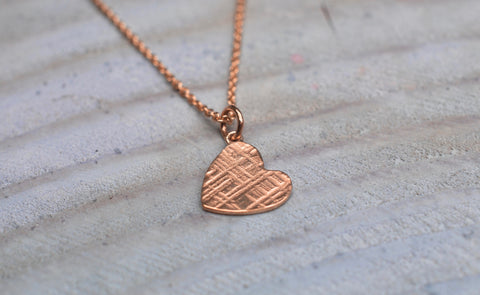 9ct Rose Gold Heart Textured Pendant