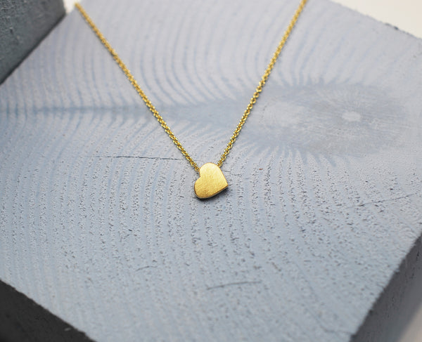 9ct Yellow Gold Satin Chunky Heart Pendant