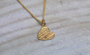 9ct Yellow Gold Heart Textured Pendant