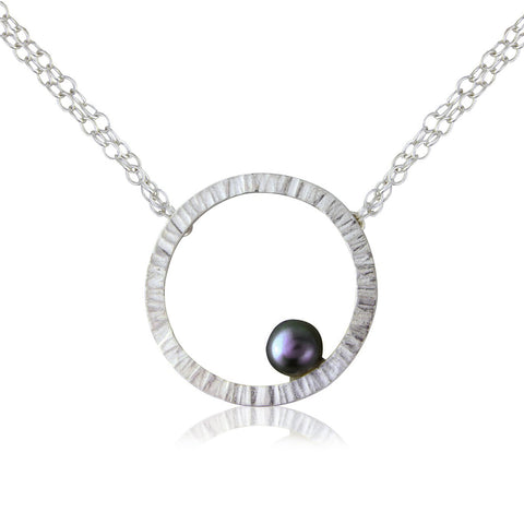 Cylch Silver Pendant with Black Pearl