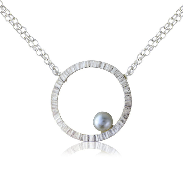 Cylch Silver Pendant with Grey Pearl