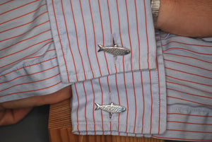 Silver Double Sided Sewin Fish Cufflinks