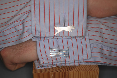 Silver Reversible Gate & Dog Cufflinks