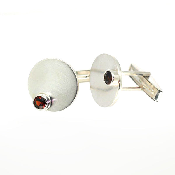 Stacking Silver Garnet Cufflinks