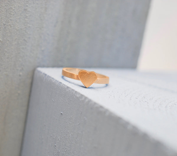 9ct Rose Gold Heart Ring with a Satin Finish