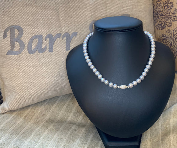 Grey Freshwater Pearls with Satin Clasp