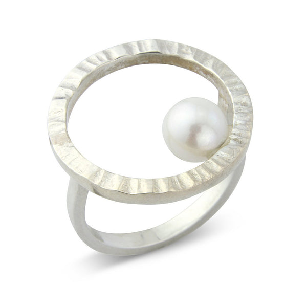 Cylch Silver Ring with Pearl