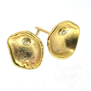 Organic 9ct Yellow Gold Stud Earrings with Diamonds