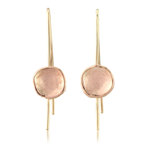 Organic Rose Gold Drop Earrings