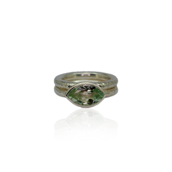 Silver Textured Green Amethyst Ring