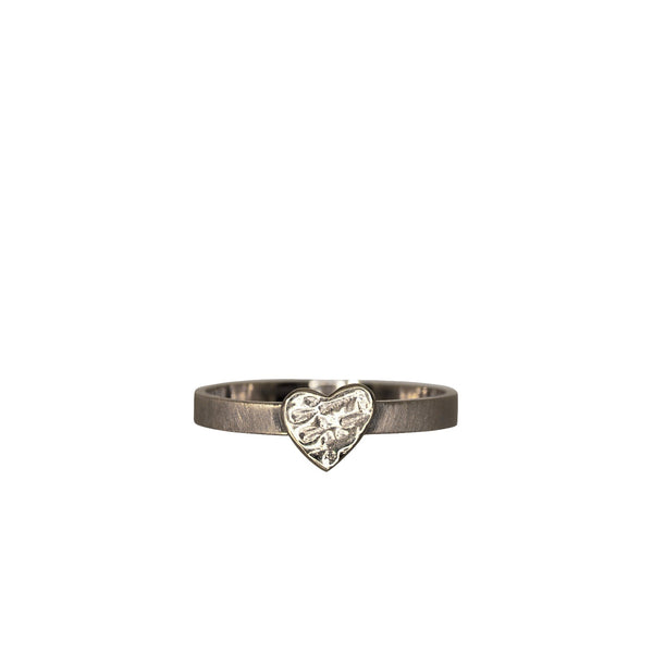 Silver Heart Textured Ring