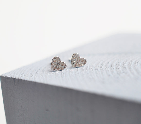 Silver Heart Textured Stud Earrings