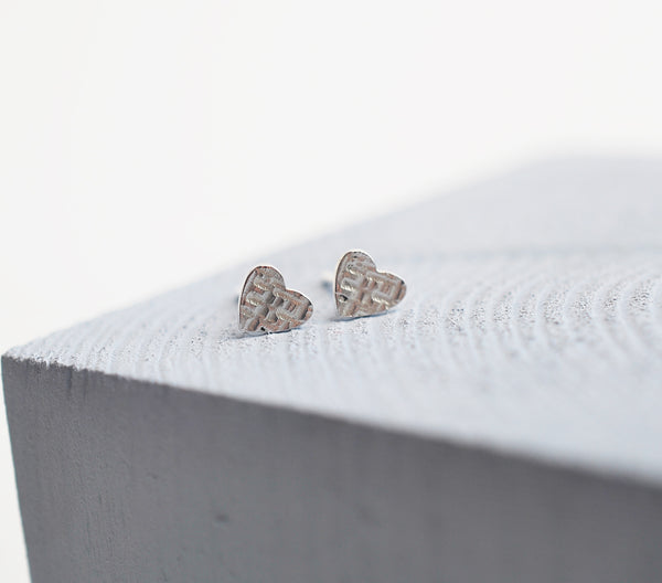 Silver Textured Stud Earrings