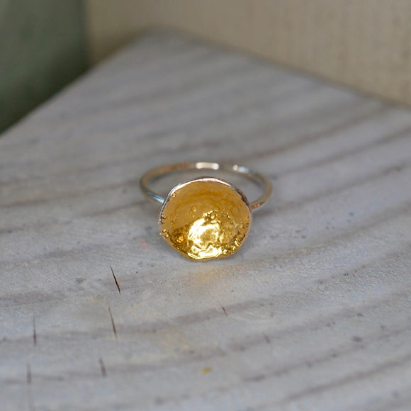 Silver & Gold Gilt Organic Ring