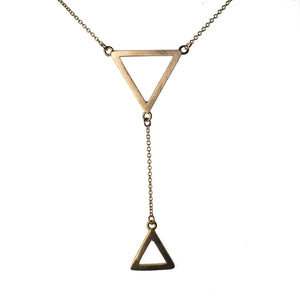 9ct Yellow Gold Tri Drop Double Pendant